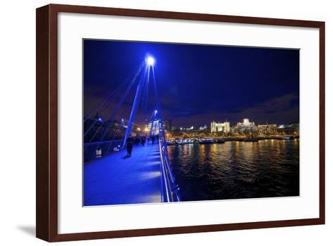 The Hungerford Pedestrian over the Thames in London, at Night-Richard Wright-Framed Art Print