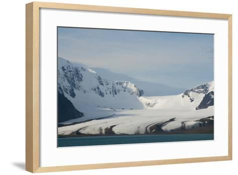 South Georgia. Bay of Isles. Glacier Coming Down from the Mountains-Inger Hogstrom-Framed Art Print