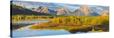 Wyoming, Grand Teton National Park. Panorama of Sunrise on Snake River-Jaynes Gallery-Stretched Canvas Print