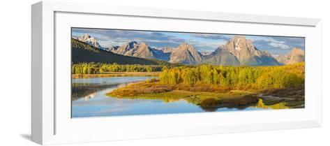 Wyoming, Grand Teton National Park. Panorama of Sunrise on Snake River-Jaynes Gallery-Framed Art Print