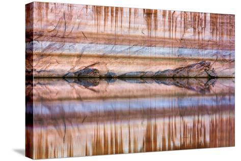Utah, Glen Canyon Nra. Abstract Reflection of Stained Sandstone Wall-Jaynes Gallery-Stretched Canvas Print