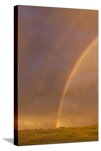 Wyoming, Sublette County, Double Rainbow in Stormy Sky-Elizabeth Boehm-Stretched Canvas Print