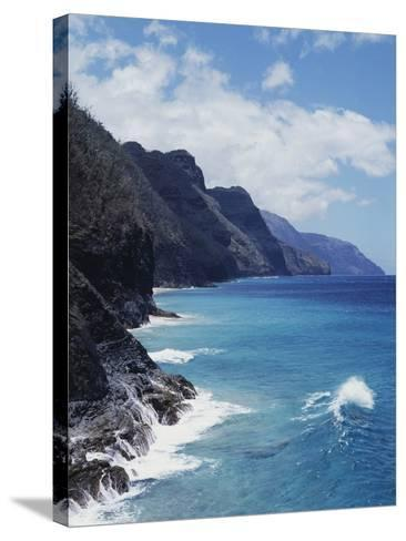 Hawaii, Kauai, Waves from the Pacific Ocean Along the Na Pali Coast-Christopher Talbot Frank-Stretched Canvas Print