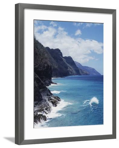 Hawaii, Kauai, Waves from the Pacific Ocean Along the Na Pali Coast-Christopher Talbot Frank-Framed Art Print