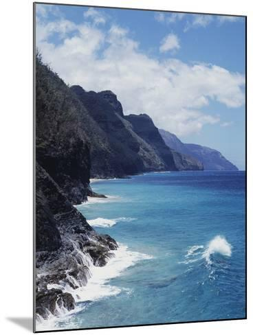Hawaii, Kauai, Waves from the Pacific Ocean Along the Na Pali Coast-Christopher Talbot Frank-Mounted Photographic Print