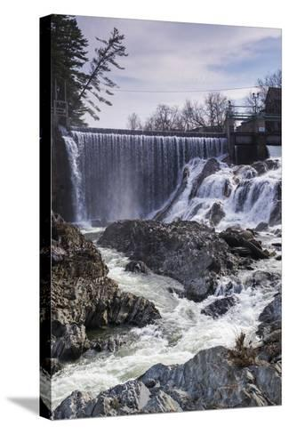 Vermont, Bradford, Waits River Falls, Waterfall and Rapids-Walter Bibikow-Stretched Canvas Print