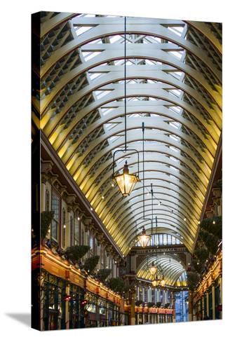 England, London, City, Leadenhall Market, Interior-Walter Bibikow-Stretched Canvas Print