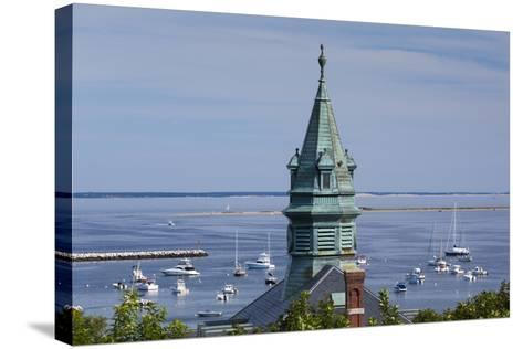 Massachusetts, Cape Cod, Provincetown, View of Town Hall and Harbor-Walter Bibikow-Stretched Canvas Print