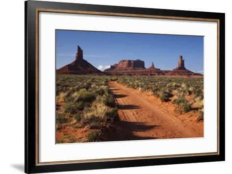 Navajo Nation, Monument Valley, Sunrise over Mitten Rock Formations-David Wall-Framed Art Print