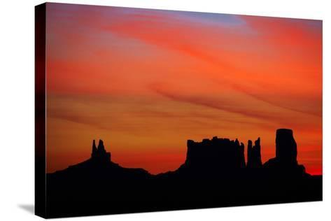 Navajo Nation, Monument Valley, Sunrise over Mitten Rock Formations-David Wall-Stretched Canvas Print