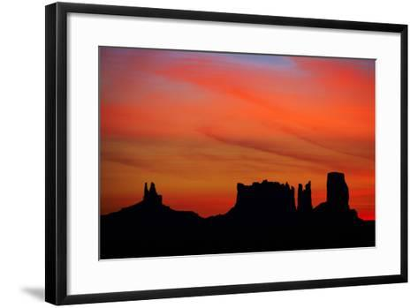 Navajo Nation, Monument Valley, Sunrise over Mitten Rock Formations-David Wall-Framed Art Print