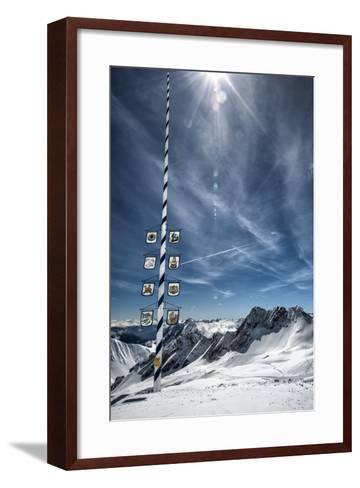 Bavarian Alps, Zugspitze, Germany and Maypole in Winter Vertical-Sheila Haddad-Framed Art Print