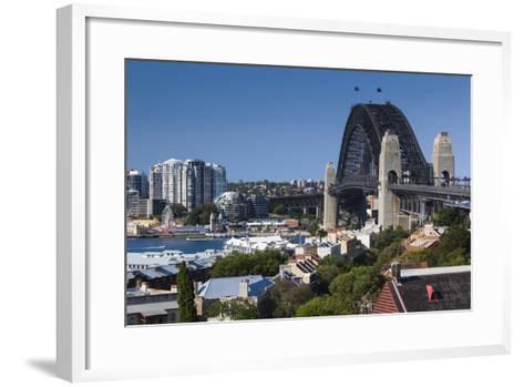 Australia, Sydney Harbor Bridge from Observatory Park-Walter Bibikow-Framed Art Print