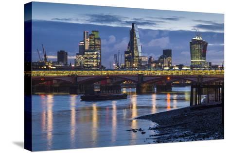 England, London, City, Skyline from Blackfriars Bridge, Dawn-Walter Bibikow-Stretched Canvas Print