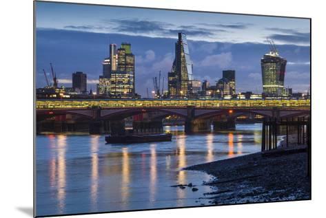 England, London, City, Skyline from Blackfriars Bridge, Dawn-Walter Bibikow-Mounted Photographic Print