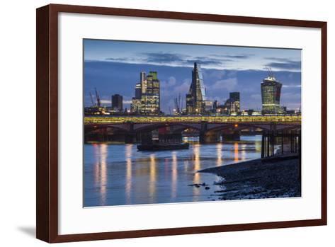England, London, City, Skyline from Blackfriars Bridge, Dawn-Walter Bibikow-Framed Art Print