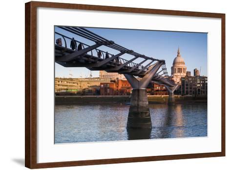 England, London, Millennium Bridge and St. Pauls Cathedral, Dawn-Walter Bibikow-Framed Art Print