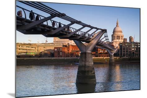 England, London, Millennium Bridge and St. Pauls Cathedral, Dawn-Walter Bibikow-Mounted Photographic Print