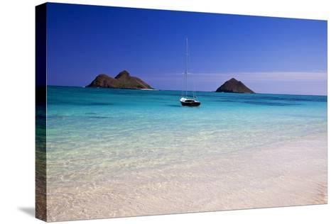 USA, Hawaii, Oahu, Sail Boat at Anchor in Blue Water with Swimmer-Terry Eggers-Stretched Canvas Print