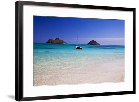 USA, Hawaii, Oahu, Sail Boat at Anchor in Blue Water with Swimmer-Terry Eggers-Framed Art Print