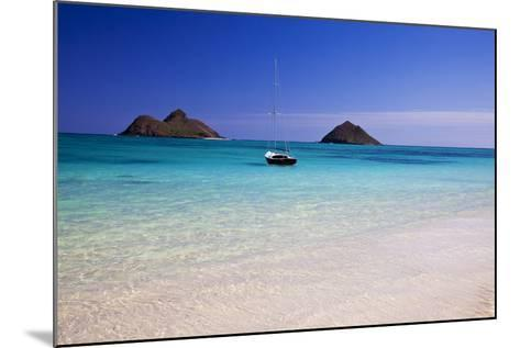 USA, Hawaii, Oahu, Sail Boat at Anchor in Blue Water with Swimmer-Terry Eggers-Mounted Photographic Print