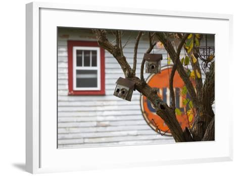North Carolina, Linville, Antique Gulf Sign with Birdhouses-Walter Bibikow-Framed Art Print