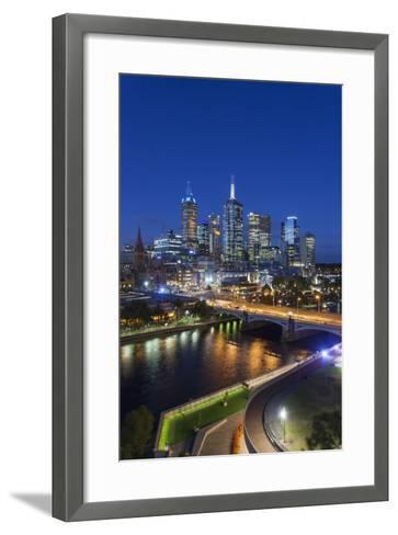 Australia, Victoria, Melbourne, Skyline with River and Bridge at Dusk-Walter Bibikow-Framed Art Print