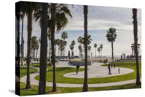 California, Los Angeles, Venice, Beachfront Park-Walter Bibikow-Stretched Canvas Print