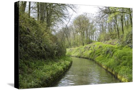 France, Burgundy, Nievre. Lush Banks of the Nivernais Canal-Kevin Oke-Stretched Canvas Print