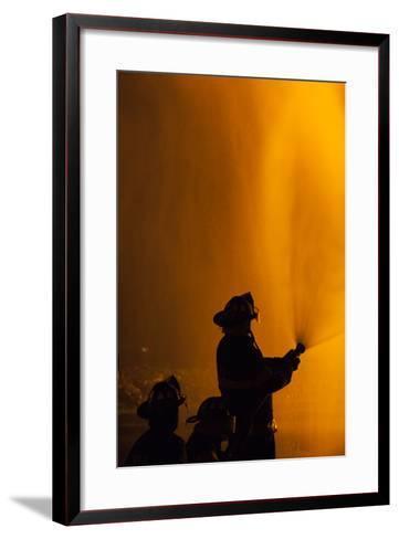 Massachusetts, Cape Ann, Fourth of July Bonfire, Silhouette of Firemen-Walter Bibikow-Framed Art Print