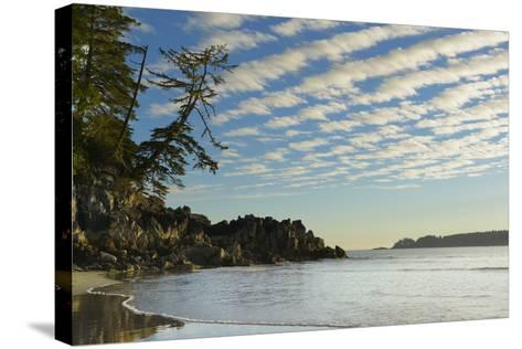 Canada, B.C, Vancouver Island. Clouds and Reflections on Tonquin Beach-Kevin Oke-Stretched Canvas Print
