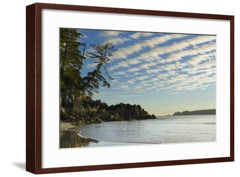 Canada, B.C, Vancouver Island. Clouds and Reflections on Tonquin Beach-Kevin Oke-Framed Art Print