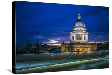 England, London, City, St. Pauls Cathedral from One New Change, Dusk-Walter Bibikow-Stretched Canvas Print