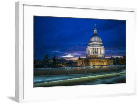 England, London, City, St. Pauls Cathedral from One New Change, Dusk-Walter Bibikow-Framed Art Print