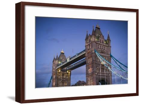 England, London, Tower Bridge, Dusk-Walter Bibikow-Framed Art Print