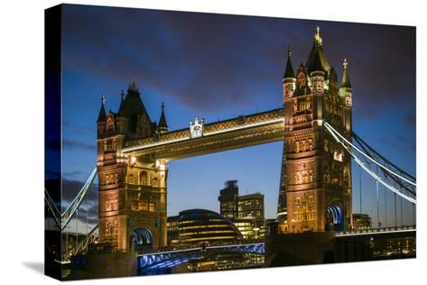 England, London, Tower Bridge, Dusk-Walter Bibikow-Stretched Canvas Print