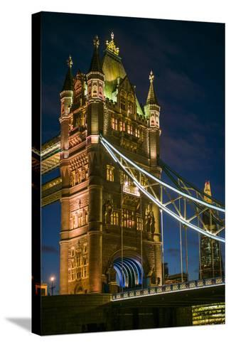 England, London, Tower Bridge, Dusk-Walter Bibikow-Stretched Canvas Print