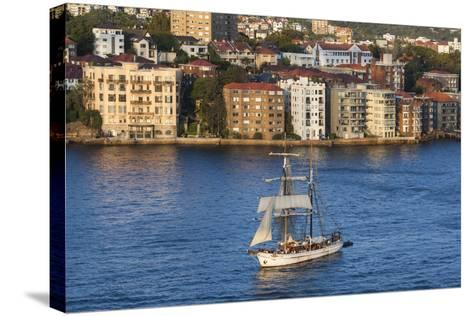 Australia, Sydney Harbor, Elevated View of Sailing Ship-Walter Bibikow-Stretched Canvas Print