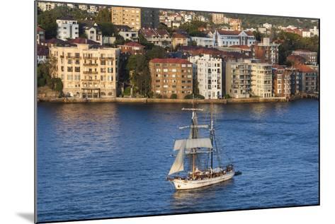 Australia, Sydney Harbor, Elevated View of Sailing Ship-Walter Bibikow-Mounted Photographic Print