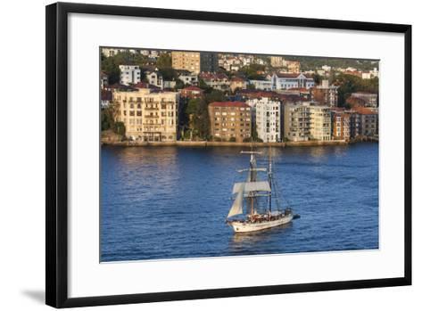 Australia, Sydney Harbor, Elevated View of Sailing Ship-Walter Bibikow-Framed Art Print