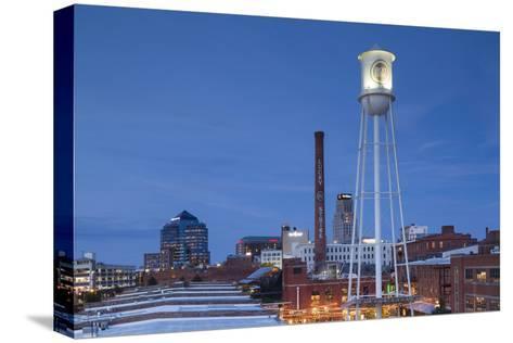 North Carolina, Durham, American Tobacco and City Center Complex, Dusk-Walter Bibikow-Stretched Canvas Print