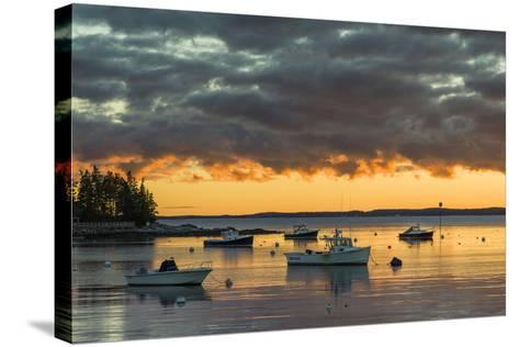 Maine, Newagen, Sunset Harbor View by the Cuckolds Islands-Walter Bibikow-Stretched Canvas Print