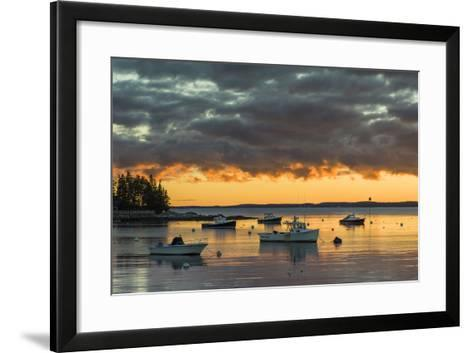 Maine, Newagen, Sunset Harbor View by the Cuckolds Islands-Walter Bibikow-Framed Art Print