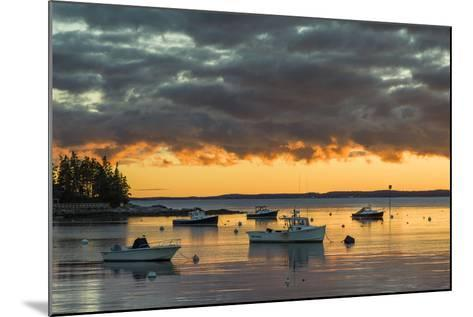 Maine, Newagen, Sunset Harbor View by the Cuckolds Islands-Walter Bibikow-Mounted Photographic Print