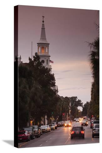 South Carolina, Charleston, Broad St and St Michaels Episcopal Church-Walter Bibikow-Stretched Canvas Print