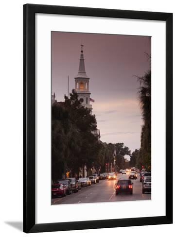 South Carolina, Charleston, Broad St and St Michaels Episcopal Church-Walter Bibikow-Framed Art Print