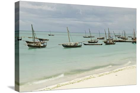Tanzania, Zanzibar, Nungwi, Traditional Fisherman Boat on White Beach-Anthony Asael-Stretched Canvas Print