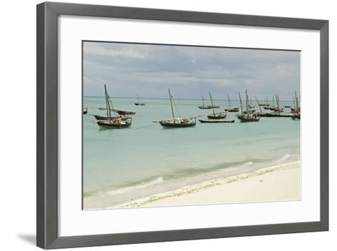 Tanzania, Zanzibar, Nungwi, Traditional Fisherman Boat on White Beach-Anthony Asael-Framed Art Print