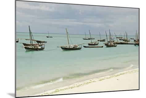 Tanzania, Zanzibar, Nungwi, Traditional Fisherman Boat on White Beach-Anthony Asael-Mounted Photographic Print