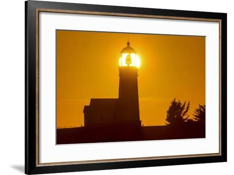 Setting Sun Behind Oregons Oldest Lighthouse at Cape Blanco Sp, Oregon-Chuck Haney-Framed Art Print